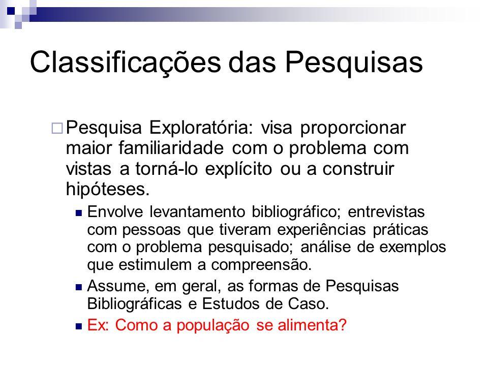 Classificações das Pesquisas Pesquisa Exploratória: visa proporcionar maior familiaridade com o problema com vistas a torná-lo explícito ou a construi