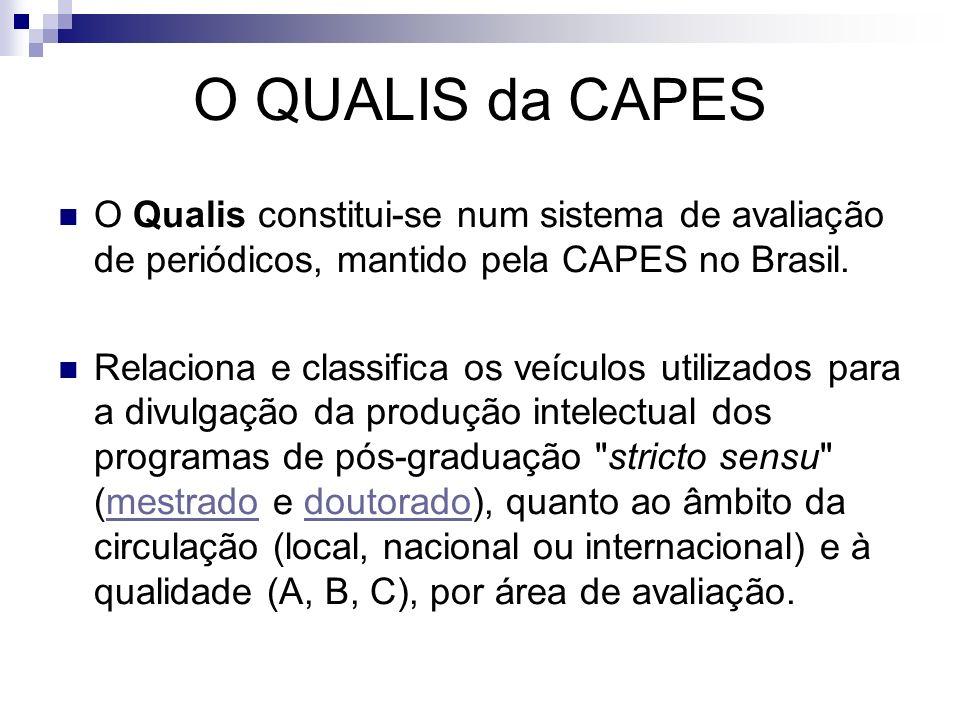 O QUALIS da CAPES O Qualis constitui-se num sistema de avaliação de periódicos, mantido pela CAPES no Brasil. Relaciona e classifica os veículos utili