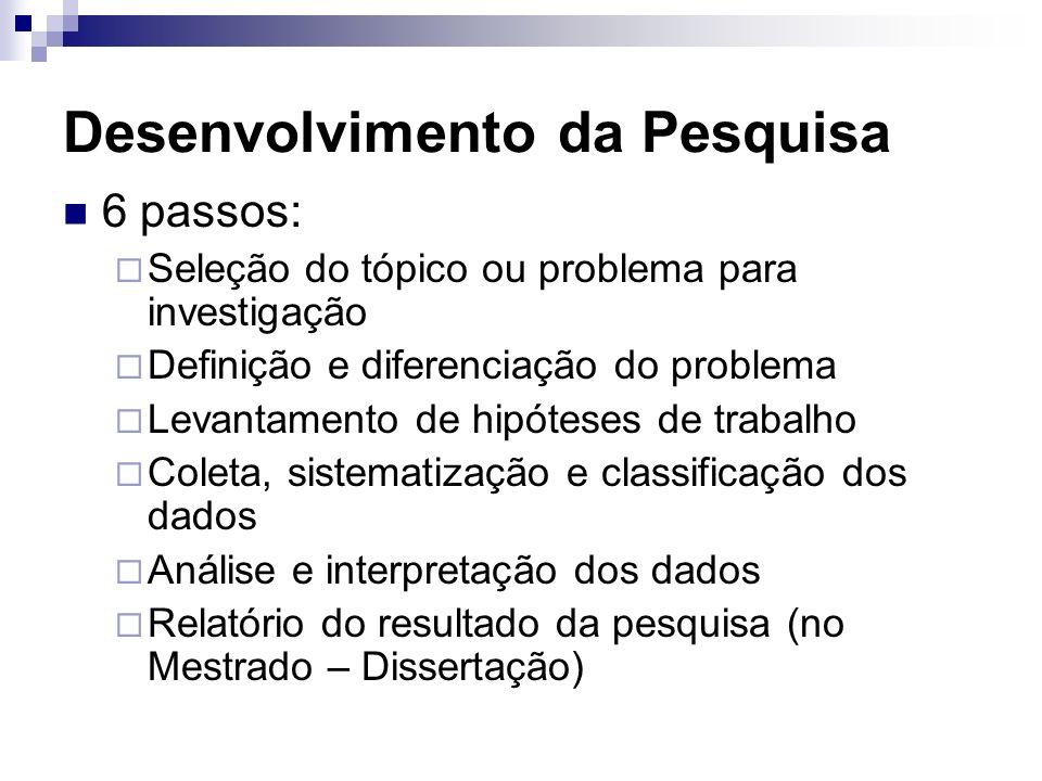 6 passos: Seleção do tópico ou problema para investigação Definição e diferenciação do problema Levantamento de hipóteses de trabalho Coleta, sistemat
