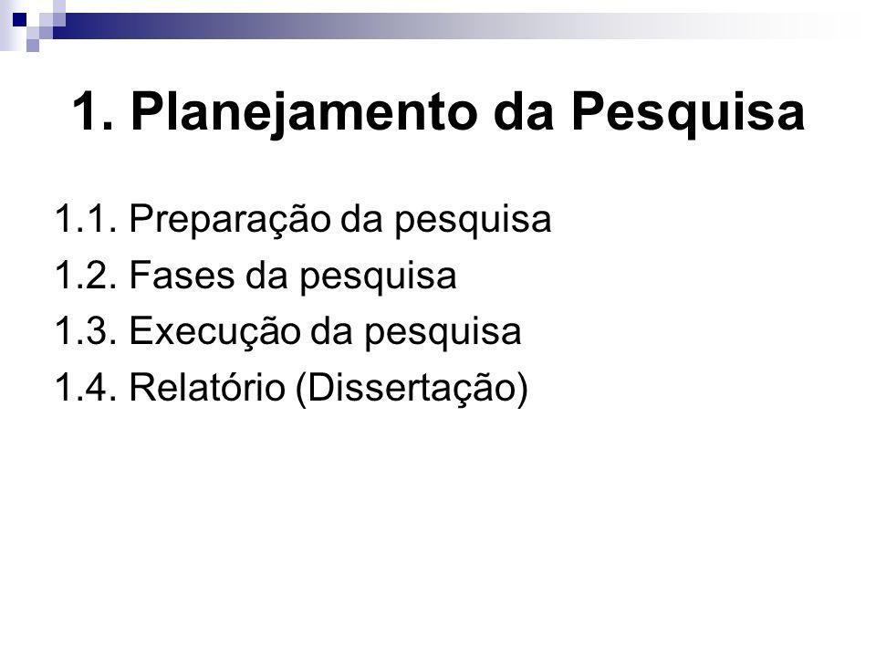 1. Planejamento da Pesquisa 1.1. Preparação da pesquisa 1.2. Fases da pesquisa 1.3. Execução da pesquisa 1.4. Relatório (Dissertação)