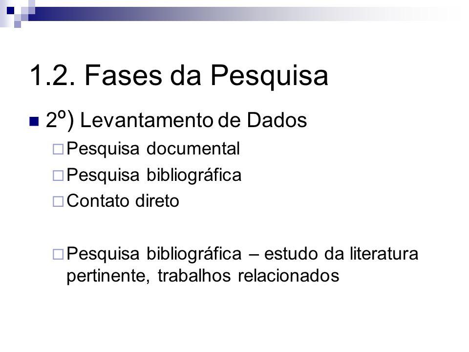 2 º) Levantamento de Dados Pesquisa documental Pesquisa bibliográfica Contato direto Pesquisa bibliográfica – estudo da literatura pertinente, trabalh