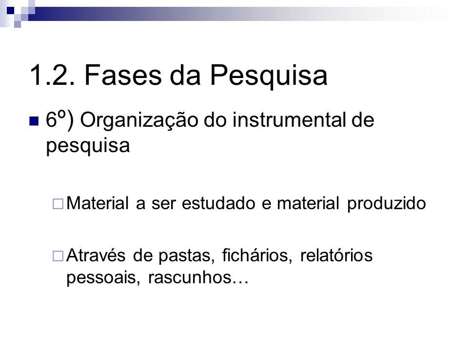 6 º) Organização do instrumental de pesquisa Material a ser estudado e material produzido Através de pastas, fichários, relatórios pessoais, rascunhos