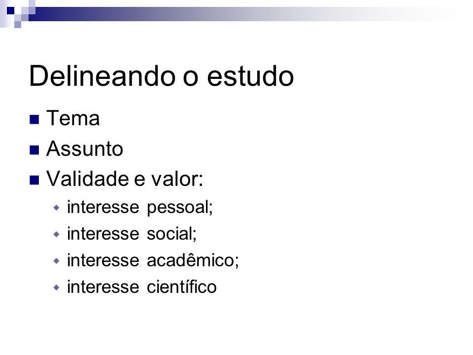 Delineando o estudo Tema Assunto Validade e valor: interesse pessoal; interesse social; interesse acadêmico; interesse científico