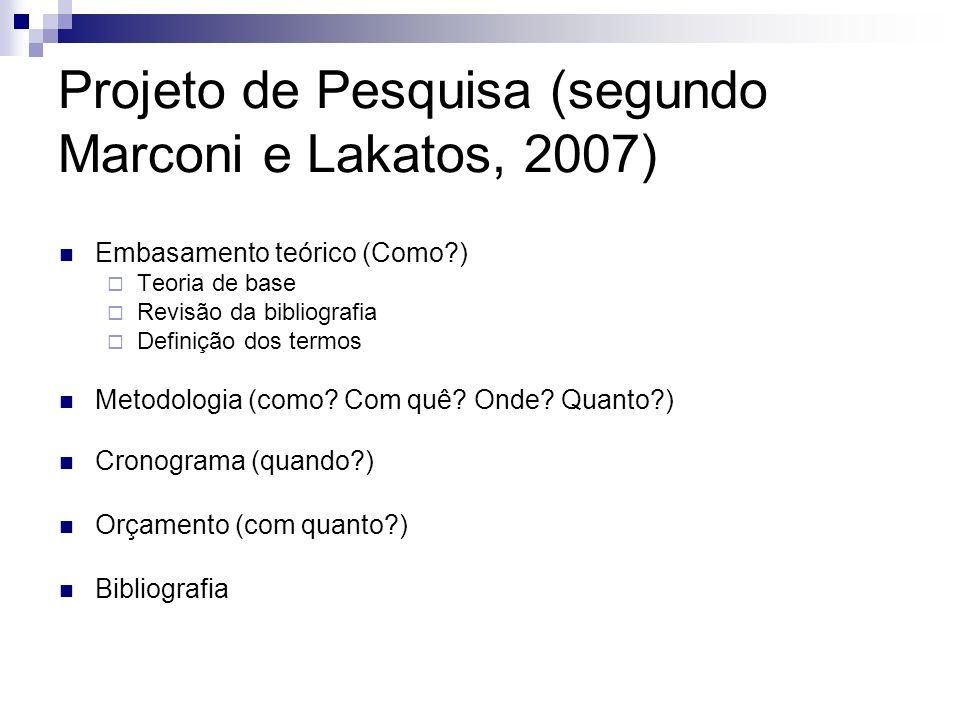 Projeto de Pesquisa (segundo Marconi e Lakatos, 2007) Embasamento teórico (Como?) Teoria de base Revisão da bibliografia Definição dos termos Metodolo