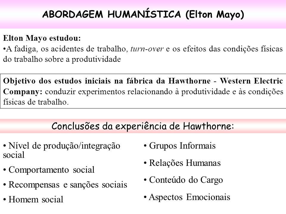 ABORDAGEM HUMANÍSTICA (Elton Mayo) Elton Mayo estudou: A fadiga, os acidentes de trabalho, turn-over e os efeitos das condições físicas do trabalho so