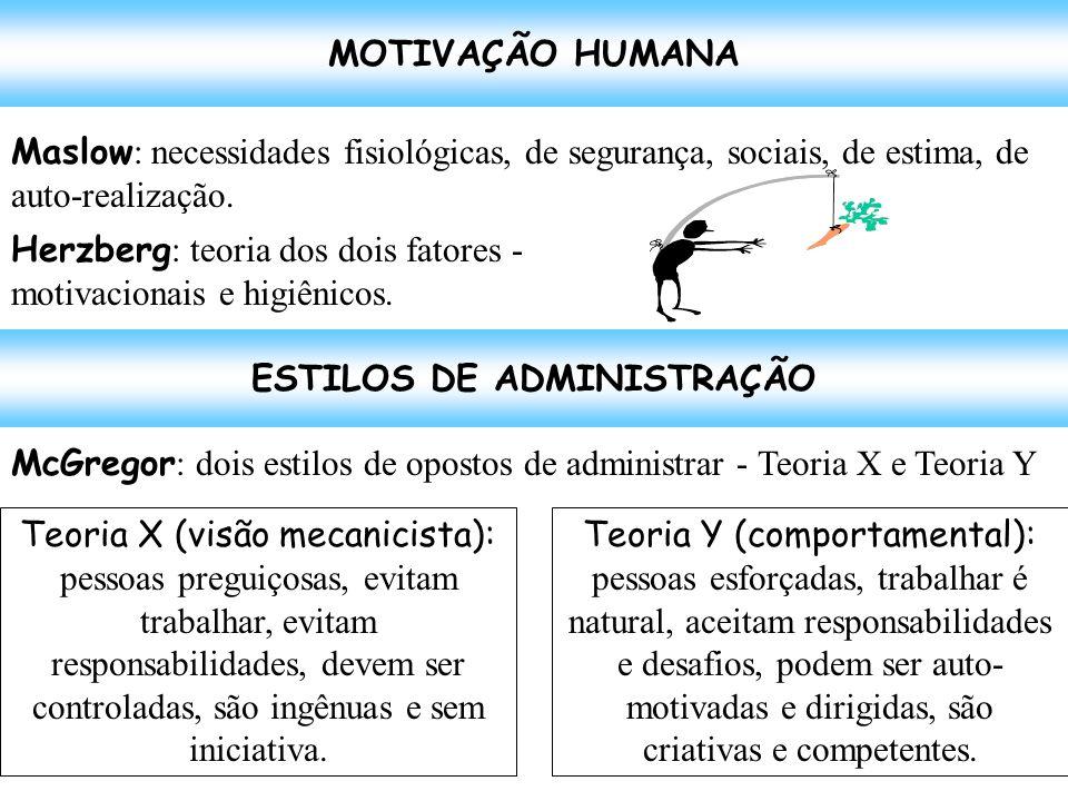 MOTIVAÇÃO HUMANA Maslow : necessidades fisiológicas, de segurança, sociais, de estima, de auto-realização. Herzberg : teoria dos dois fatores - motiva