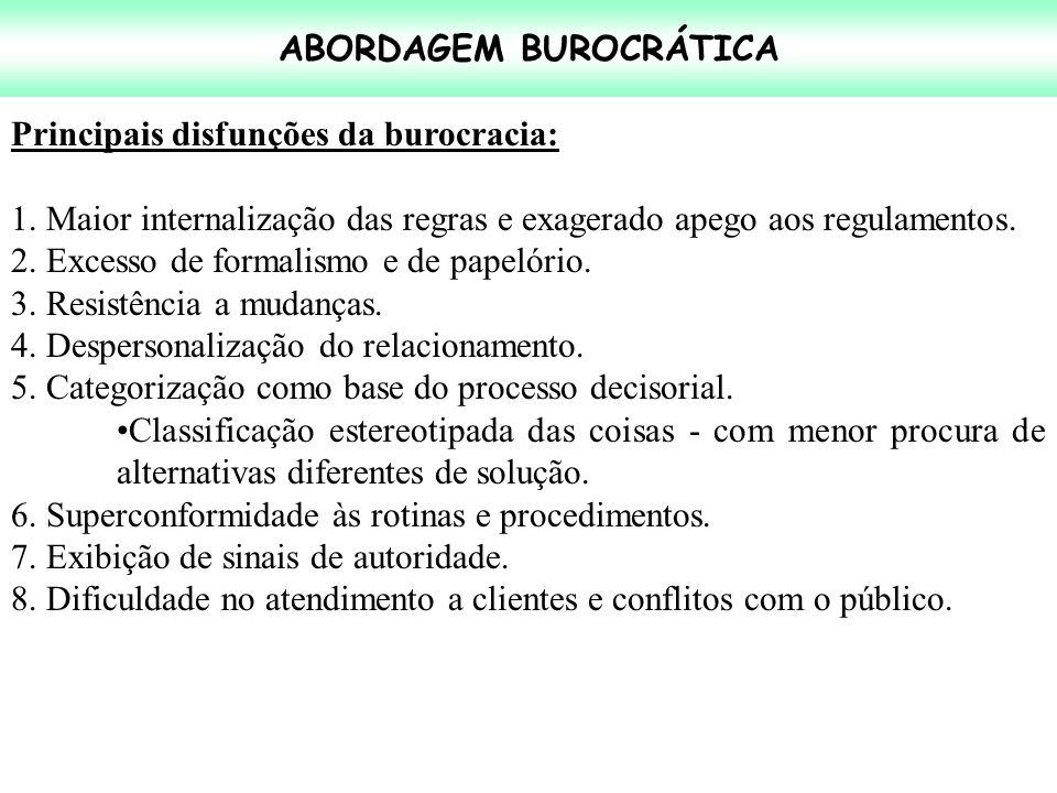 ABORDAGEM BUROCRÁTICA Principais disfunções da burocracia: 1. Maior internalização das regras e exagerado apego aos regulamentos. 2. Excesso de formal