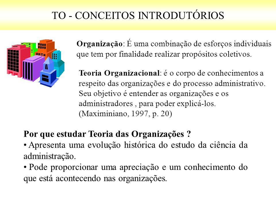 TO - CONCEITOS INTRODUTÓRIOS Organização: É uma combinação de esforços individuais que tem por finalidade realizar propósitos coletivos. Teoria Organi
