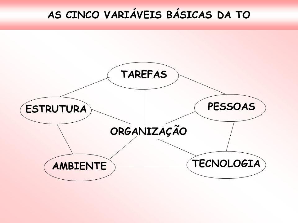 AS CINCO VARIÁVEIS BÁSICAS DA TO ORGANIZAÇÃO ESTRUTURA TAREFAS PESSOAS AMBIENTE TECNOLOGIA