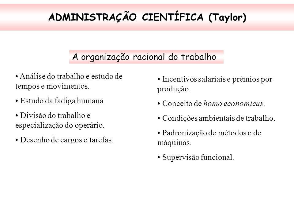 ADMINISTRAÇÃO CIENTÍFICA (Taylor) A organização racional do trabalho Análise do trabalho e estudo de tempos e movimentos. Estudo da fadiga humana. Div