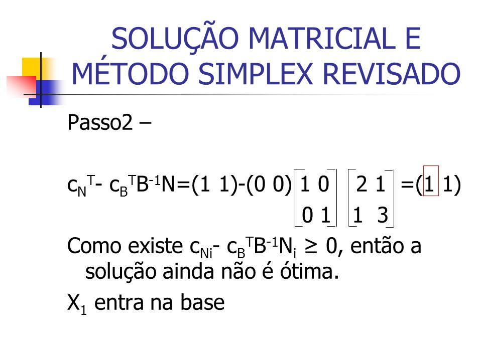 SOLUÇÃO MATRICIAL E MÉTODO SIMPLEX REVISADO Passo2 – c N T - c B T B -1 N=(1 1)-(0 0) 1 0 2 1 =(1 1) 0 1 1 3 Como existe c Ni - c B T B -1 N i 0, entã