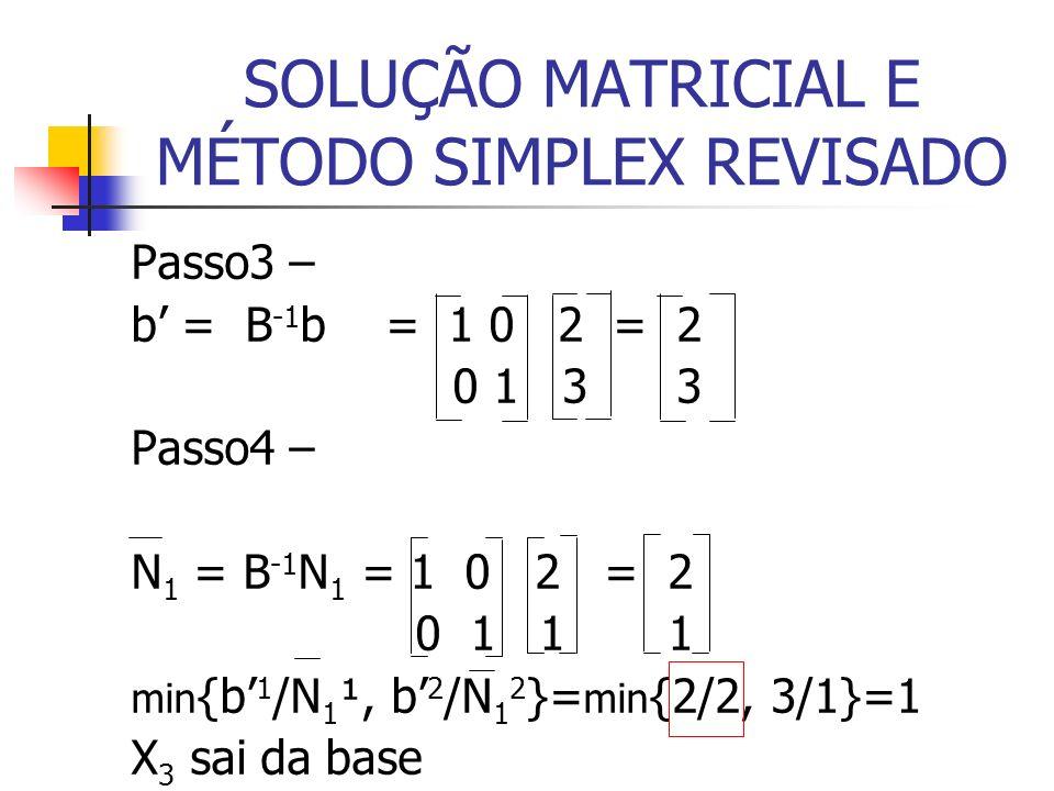 SOLUÇÃO MATRICIAL E MÉTODO SIMPLEX REVISADO Passo3 – b = B -1 b = 1 0 2 = 2 0 1 3 3 Passo4 – N 1 = B -1 N 1 = 1 0 2 = 2 0 1 1 1 min {b 1 /N 1 ¹, b 2 /