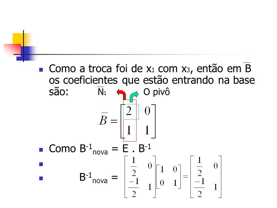 Como a troca foi de x 1 com x 3, então em B os coeficientes que estão entrando na base são: Como B -1 nova = E. B -1 B -1 nova = O pivôN1N1