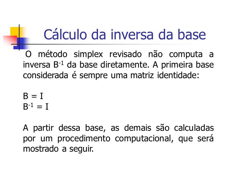 O método simplex revisado não computa a inversa B -1 da base diretamente. A primeira base considerada é sempre uma matriz identidade: B = I B -1 = I A
