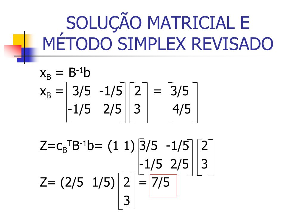 SOLUÇÃO MATRICIAL E MÉTODO SIMPLEX REVISADO x B = B -1 b x B = 3/5 -1/5 2 = 3/5 -1/5 2/5 3 4/5 Z=c B T B -1 b= (1 1) 3/5 -1/5 2 -1/5 2/5 3 Z= (2/5 1/5