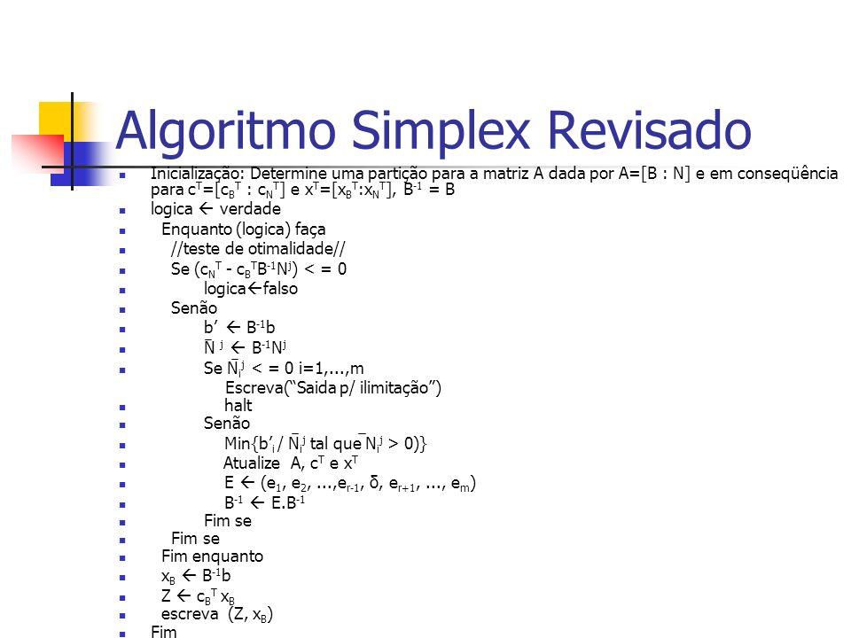 Algoritmo Simplex Revisado Inicialização: Determine uma partição para a matriz A dada por A=[B : N] e em conseqüência para c T =[c B T : c N T ] e x T