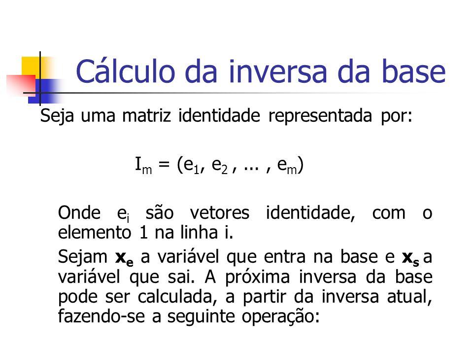 SOLUÇÃO MATRICIAL E MÉTODO SIMPLEX REVISADO Passo5 – Achar a nova solução Básica IB={1,4} INB={3,2} B= 2 0 N= 1 1 X B = x 1 1 1 0 3 x 4 x N = x 3 c B T =(1 0) c N T =(0 1) x 2