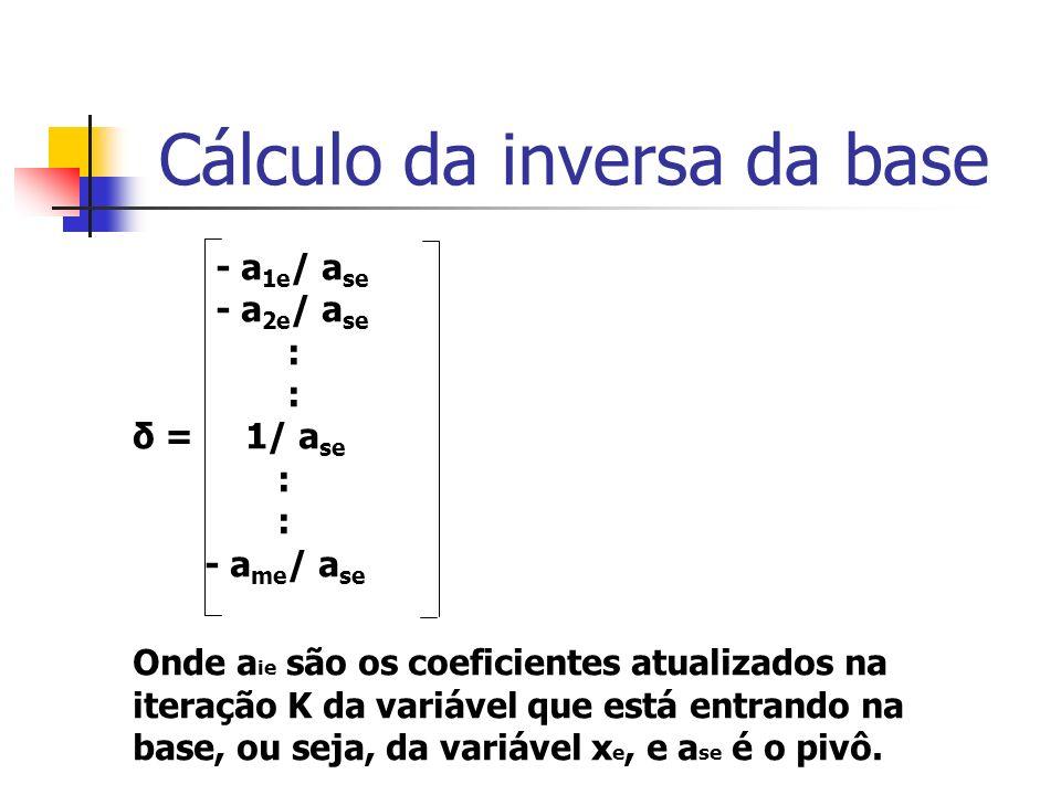 Cálculo da inversa da base Assim, a matriz E é uma matriz identidade onde a coluna s foi substituída pelo vetor calculado acima.