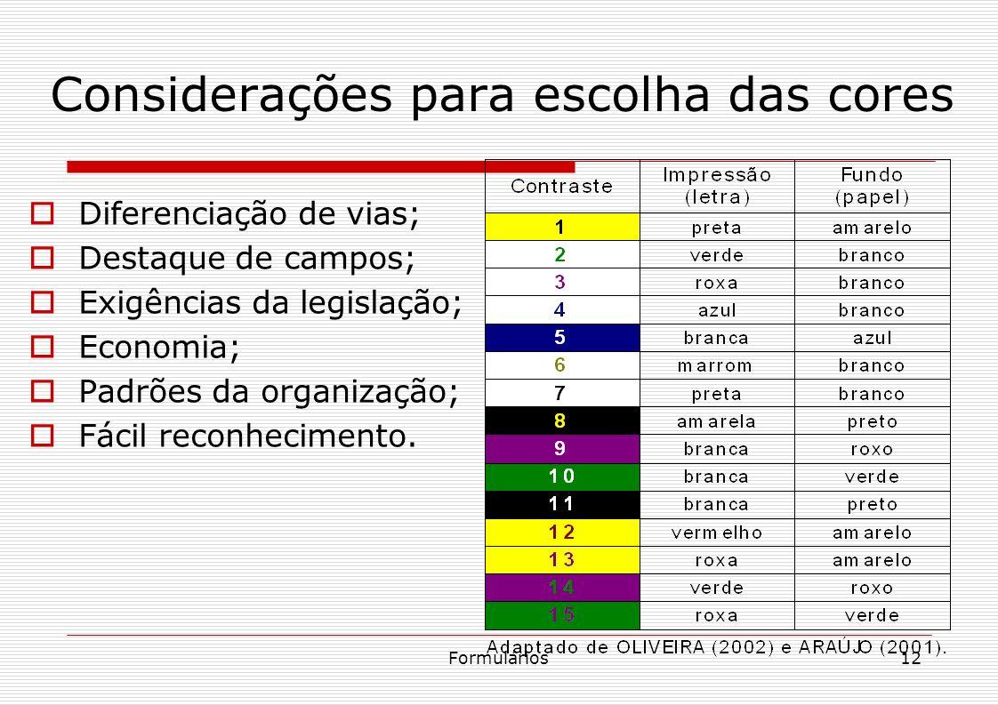 Formulários12 Considerações para escolha das cores Diferenciação de vias; Destaque de campos; Exigências da legislação; Economia; Padrões da organizaç