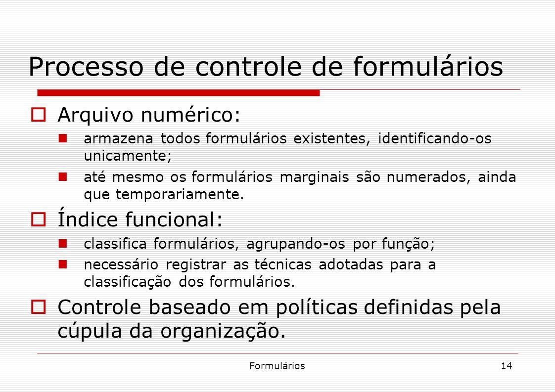 Formulários14 Processo de controle de formulários Arquivo numérico: armazena todos formulários existentes, identificando-os unicamente; até mesmo os f