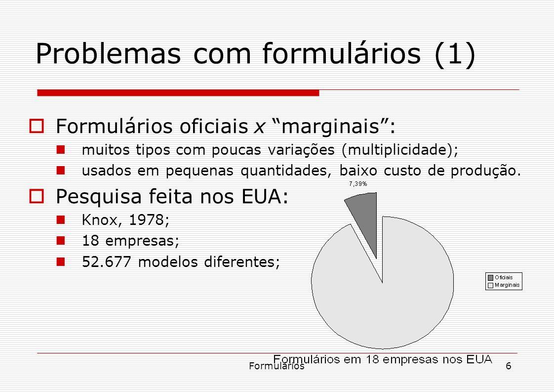 Formulários6 Problemas com formulários (1) Formulários oficiais x marginais: muitos tipos com poucas variações (multiplicidade); usados em pequenas qu