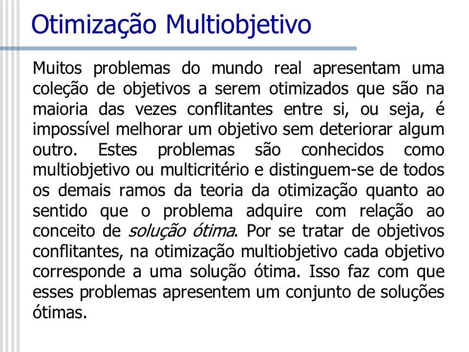 Otimização Multiobjetivo Muitos problemas do mundo real apresentam uma coleção de objetivos a serem otimizados que são na maioria das vezes conflitant