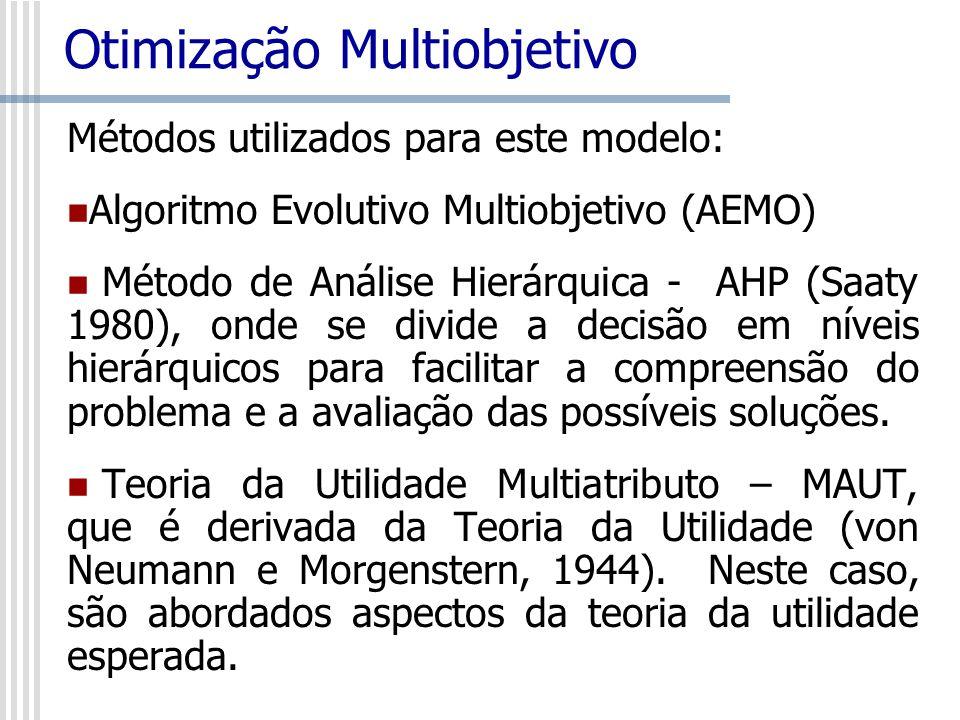 Métodos utilizados para este modelo: Algoritmo Evolutivo Multiobjetivo (AEMO) Método de Análise Hierárquica - AHP (Saaty 1980), onde se divide a decis