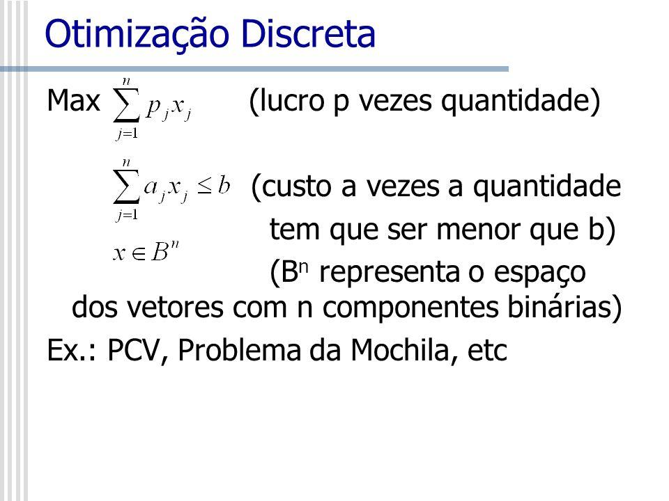 Otimização Discreta Max (lucro p vezes quantidade) (custo a vezes a quantidade tem que ser menor que b) (B n representa o espaço dos vetores com n com