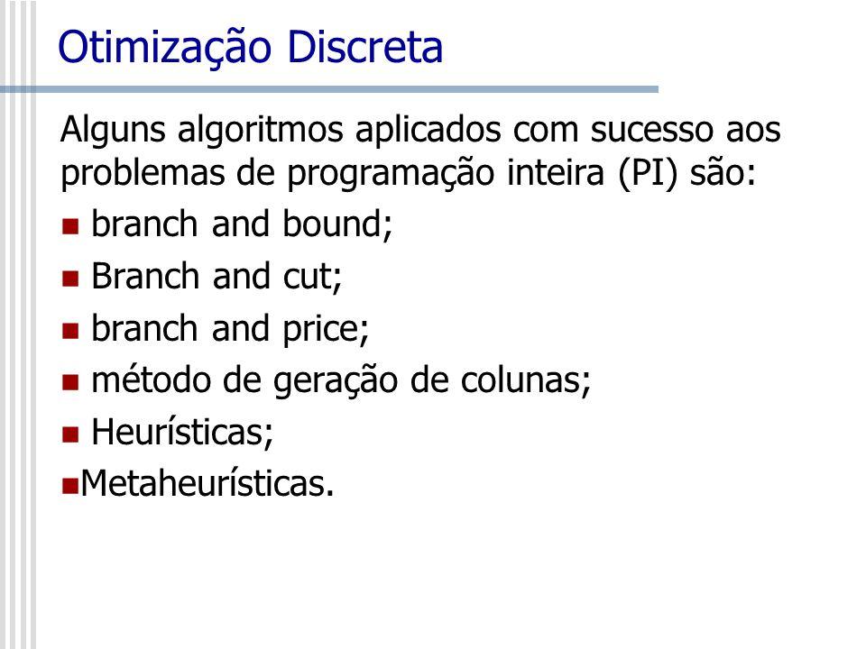 Otimização Discreta Alguns algoritmos aplicados com sucesso aos problemas de programação inteira (PI) são: branch and bound; Branch and cut; branch an