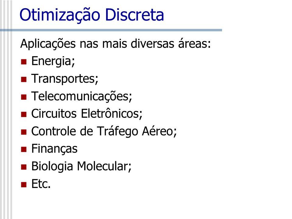 Otimização Discreta Aplicações nas mais diversas áreas: Energia; Transportes; Telecomunicações; Circuitos Eletrônicos; Controle de Tráfego Aéreo; Fina
