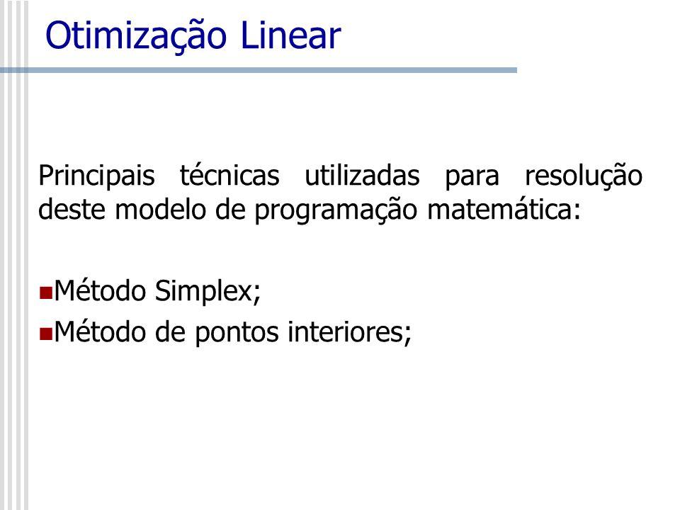 Principais técnicas utilizadas para resolução deste modelo de programação matemática: Método Simplex; Método de pontos interiores;