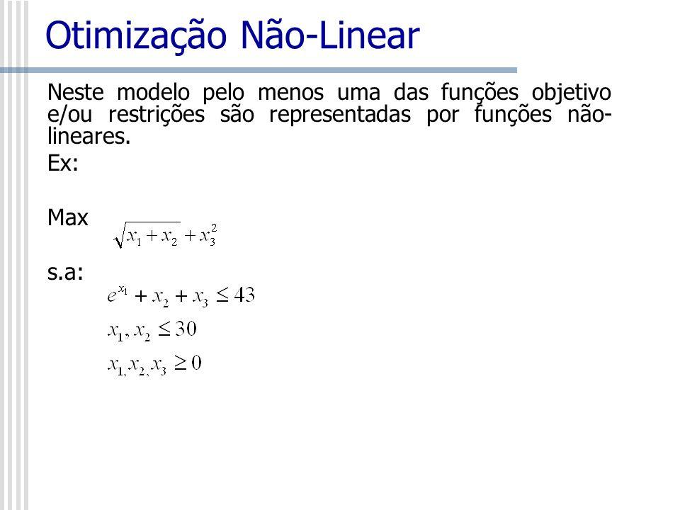 Otimização Não-Linear Neste modelo pelo menos uma das funções objetivo e/ou restrições são representadas por funções não- lineares. Ex: Max s.a:
