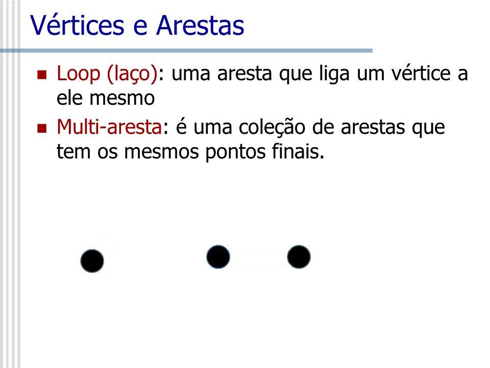 Vértices e Arestas Loop (laço): uma aresta que liga um vértice a ele mesmo Multi-aresta: é uma coleção de arestas que tem os mesmos pontos finais.