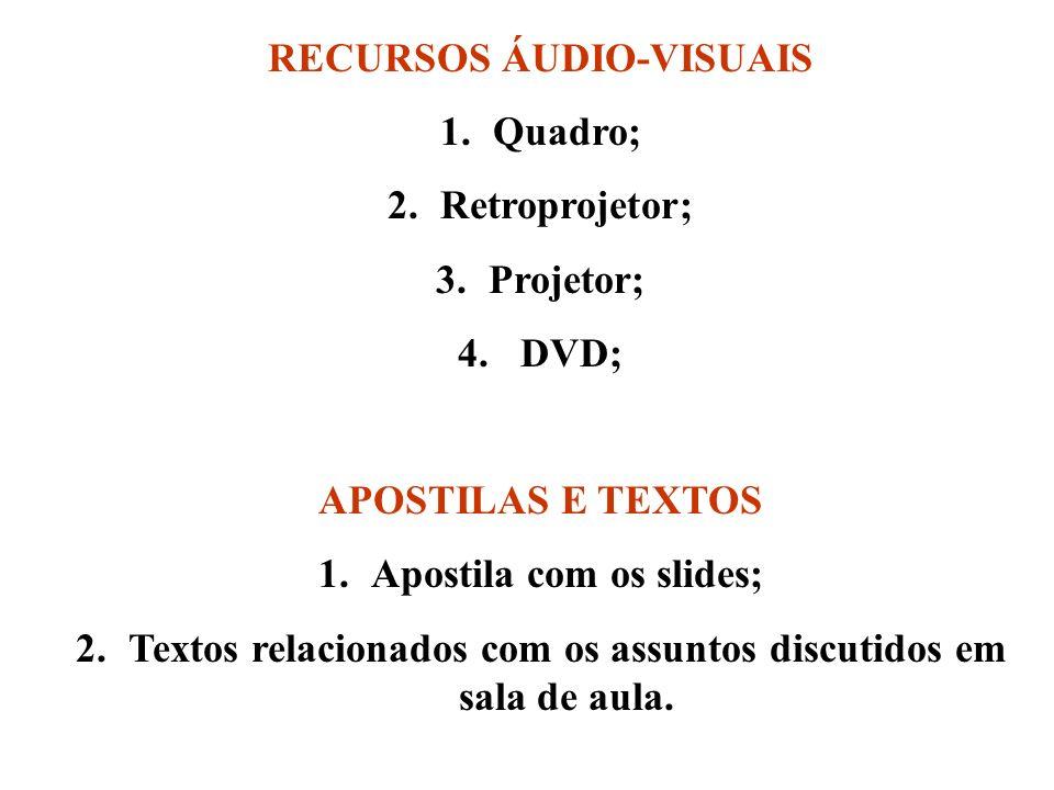 RECURSOS ÁUDIO-VISUAIS 1.Quadro; 2.Retroprojetor; 3.Projetor; 4. DVD; APOSTILAS E TEXTOS 1.Apostila com os slides; 2.Textos relacionados com os assunt