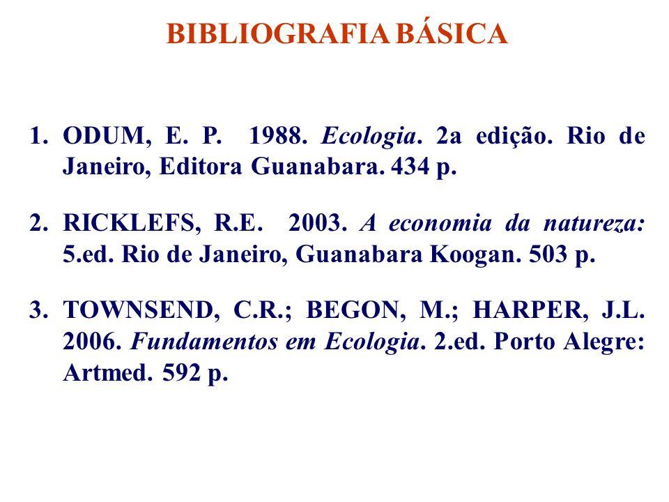 BIBLIOGRAFIA BÁSICA 1.ODUM, E. P. 1988. Ecologia. 2a edição. Rio de Janeiro, Editora Guanabara. 434 p. 2.RICKLEFS, R.E. 2003. A economia da natureza: