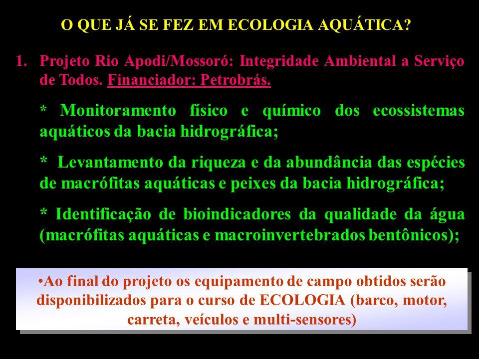 O QUE JÁ SE FEZ EM ECOLOGIA AQUÁTICA?? 1.Projeto Rio Apodi/Mossoró: Integridade Ambiental a Serviço de Todos. Financiador: Petrobrás. * Monitoramento