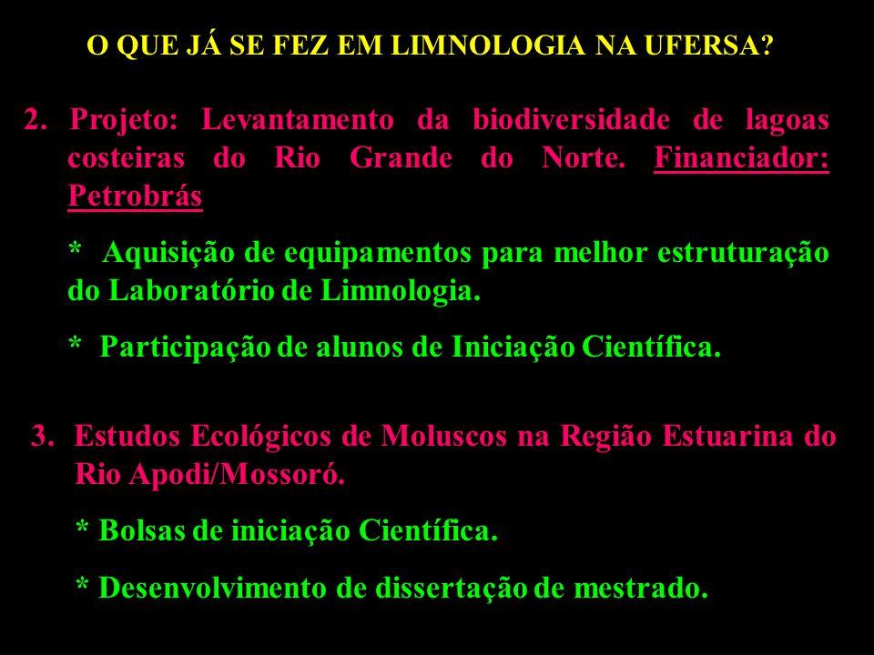 O QUE JÁ SE FEZ EM LIMNOLOGIA NA UFERSA?? 2. Projeto: Levantamento da biodiversidade de lagoas costeiras do Rio Grande do Norte. Financiador: Petrobrá