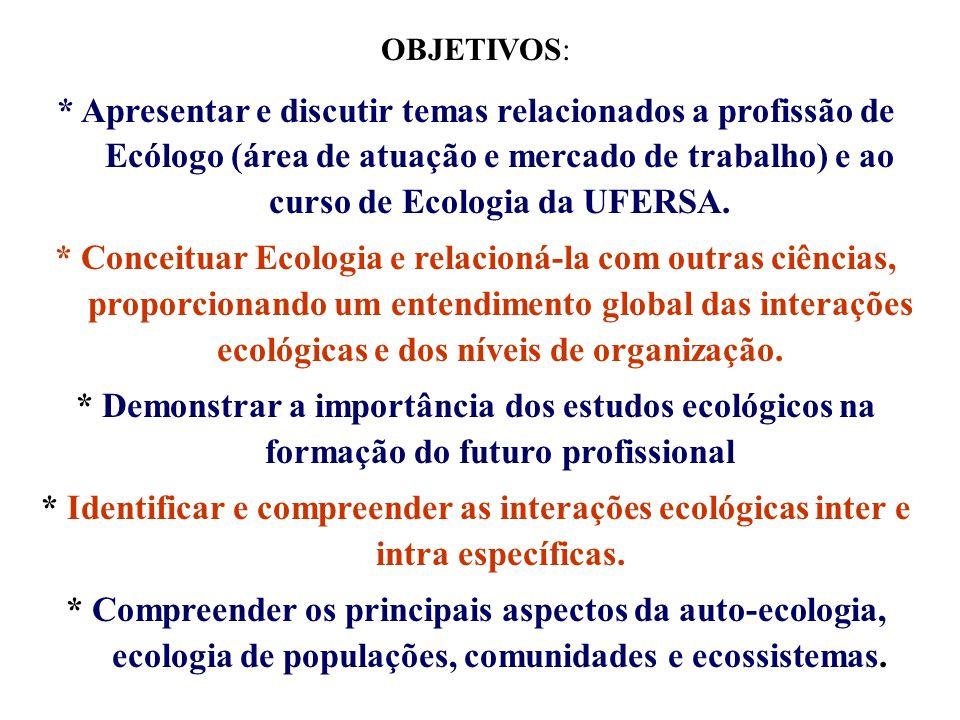 OBJETIVOS: * Apresentar e discutir temas relacionados a profissão de Ecólogo (área de atuação e mercado de trabalho) e ao curso de Ecologia da UFERSA.