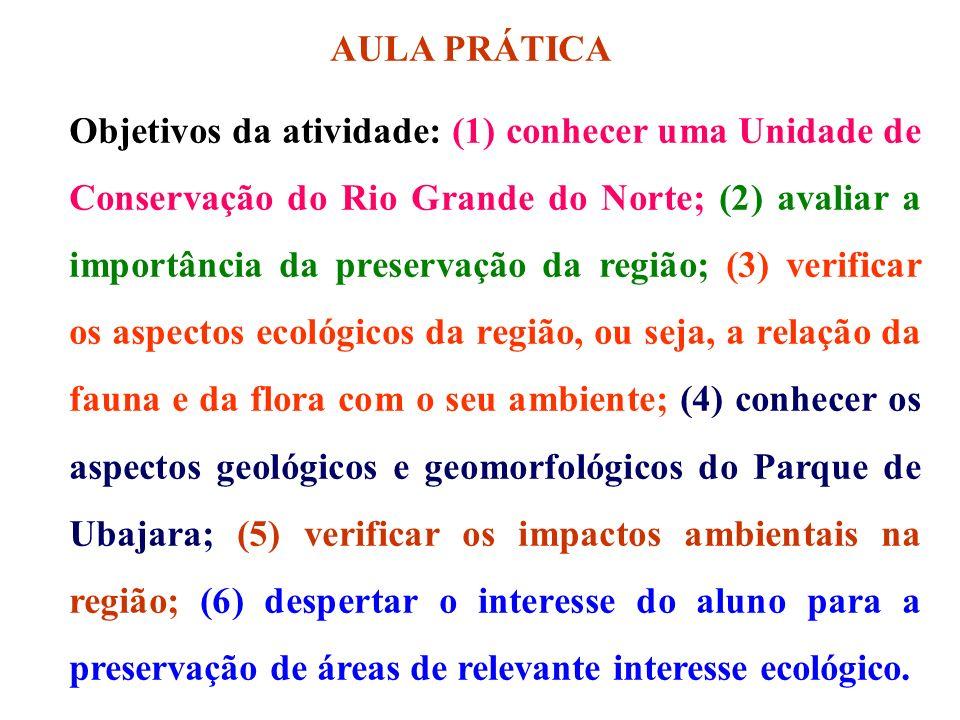 AULA PRÁTICA Objetivos da atividade: (1) conhecer uma Unidade de Conservação do Rio Grande do Norte; (2) avaliar a importância da preservação da regiã