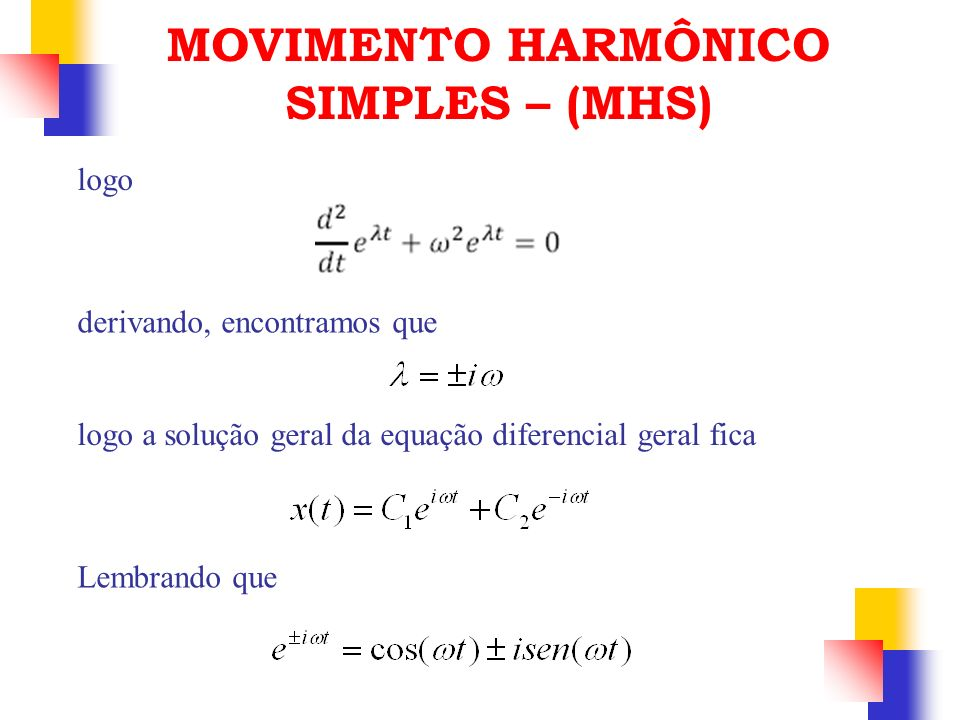 logo derivando, encontramos que logo a solução geral da equação diferencial geral fica Lembrando que MOVIMENTO HARMÔNICO SIMPLES – (MHS)