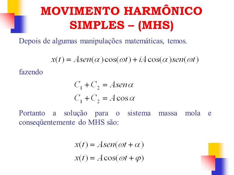 Depois de algumas manipulações matemáticas, temos. fazendo Portanto a solução para o sistema massa mola e conseqüentemente do MHS são: MOVIMENTO HARMÔ