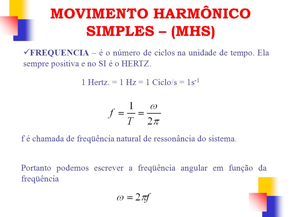 FREQUENCIA – é o número de ciclos na unidade de tempo. Ela sempre positiva e no SI é o HERTZ. 1 Hertz. = 1 Hz = 1 Ciclo/s = 1s -1 f é chamada de freqü