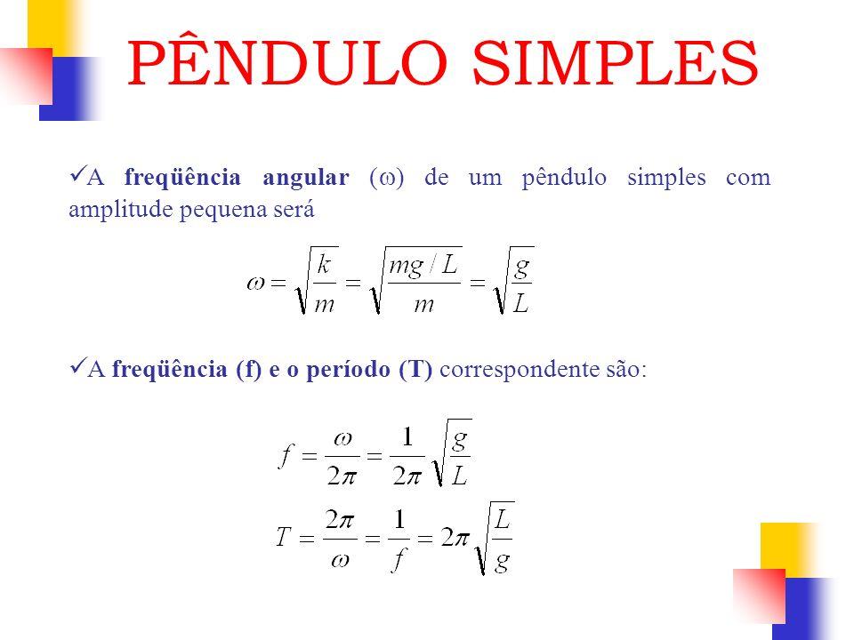 A freqüência angular ( ) de um pêndulo simples com amplitude pequena será A freqüência (f) e o período (T) correspondente são: PÊNDULO SIMPLES