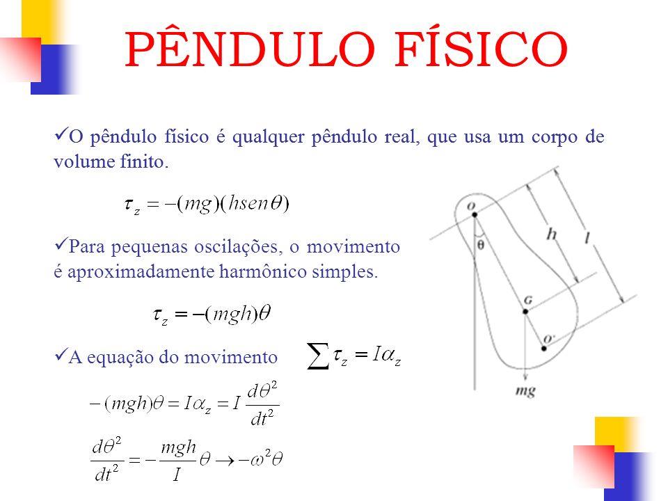 O pêndulo físico é qualquer pêndulo real, que usa um corpo de volume finito. PÊNDULO FÍSICO O pêndulo físico é qualquer pêndulo real, que usa um corpo