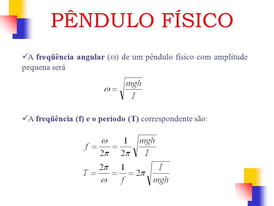 A freqüência angular ( ) de um pêndulo físico com amplitude pequena será A freqüência (f) e o período (T) correspondente são: PÊNDULO FÍSICO