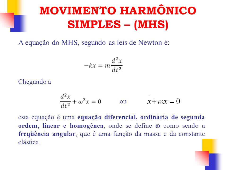 A equação do MHS, segundo as leis de Newton é: Chegando a MOVIMENTO HARMÔNICO SIMPLES – (MHS) ou esta equação é uma equação diferencial, ordinária de