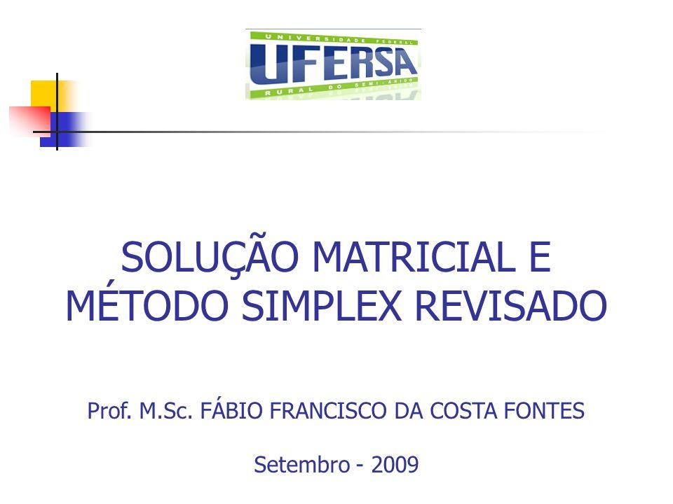SOLUÇÃO MATRICIAL E MÉTODO SIMPLEX REVISADO Prof. M.Sc. FÁBIO FRANCISCO DA COSTA FONTES Setembro - 2009