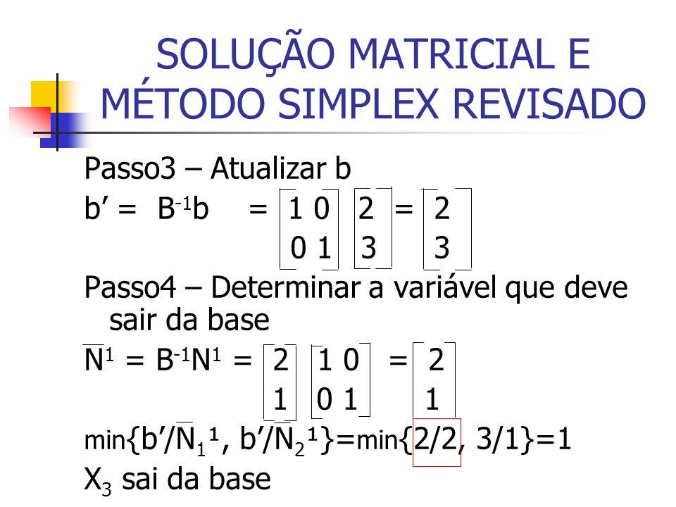 SOLUÇÃO MATRICIAL E MÉTODO SIMPLEX REVISADO Passo3 – Atualizar b b = B -1 b = 1 0 2 = 2 0 1 3 3 Passo4 – Determinar a variável que deve sair da base N 1 = B -1 N 1 = 2 1 0 = 2 1 0 1 1 min {b/N 1 ¹, b/N 2 ¹}= min {2/2, 3/1}=1 X 3 sai da base
