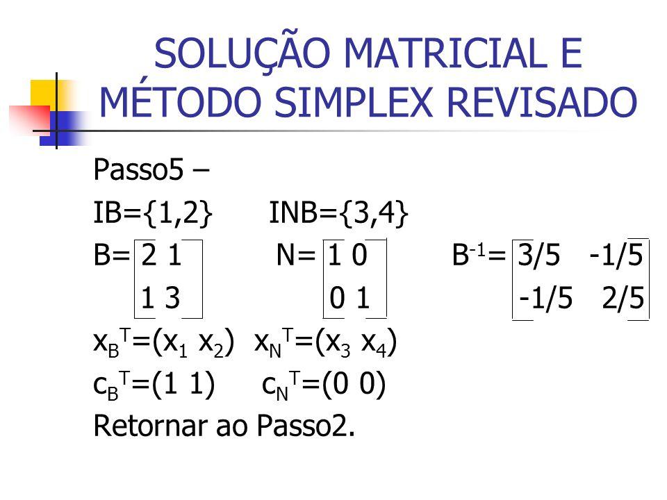 SOLUÇÃO MATRICIAL E MÉTODO SIMPLEX REVISADO Passo5 – IB={1,2} INB={3,4} B= 2 1 N= 1 0 B -1 = 3/5 -1/5 1 3 0 1 -1/5 2/5 x B T =(x 1 x 2 ) x N T =(x 3 x 4 ) c B T =(1 1) c N T =(0 0) Retornar ao Passo2.