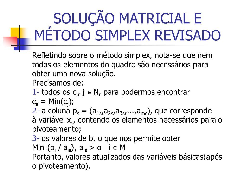 SOLUÇÃO MATRICIAL E MÉTODO SIMPLEX REVISADO Refletindo sobre o método simplex, nota-se que nem todos os elementos do quadro são necessários para obter uma nova solução.